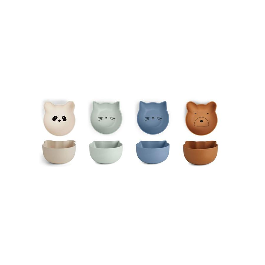 "Bamboo Bowl ""Rex Snack Blue Mix"" 4-Pack"