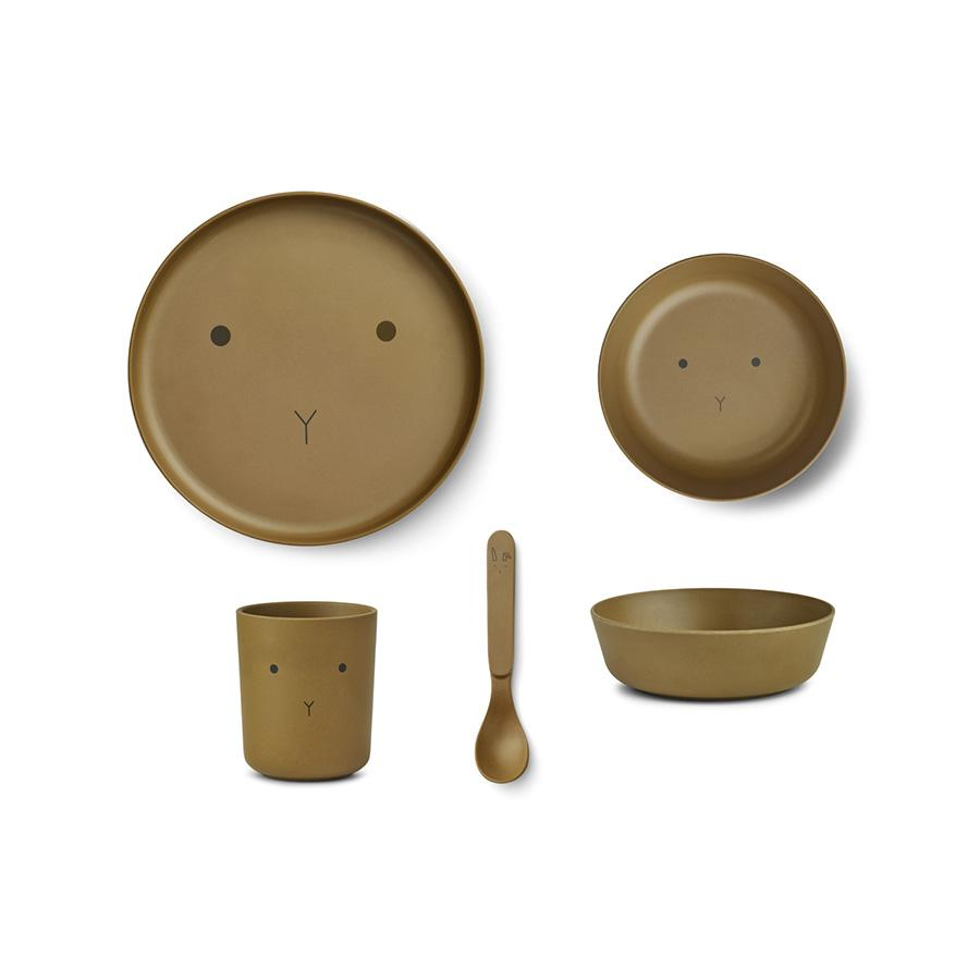 "Bamboo Tableware Set ""Rabbit Olive Green"""
