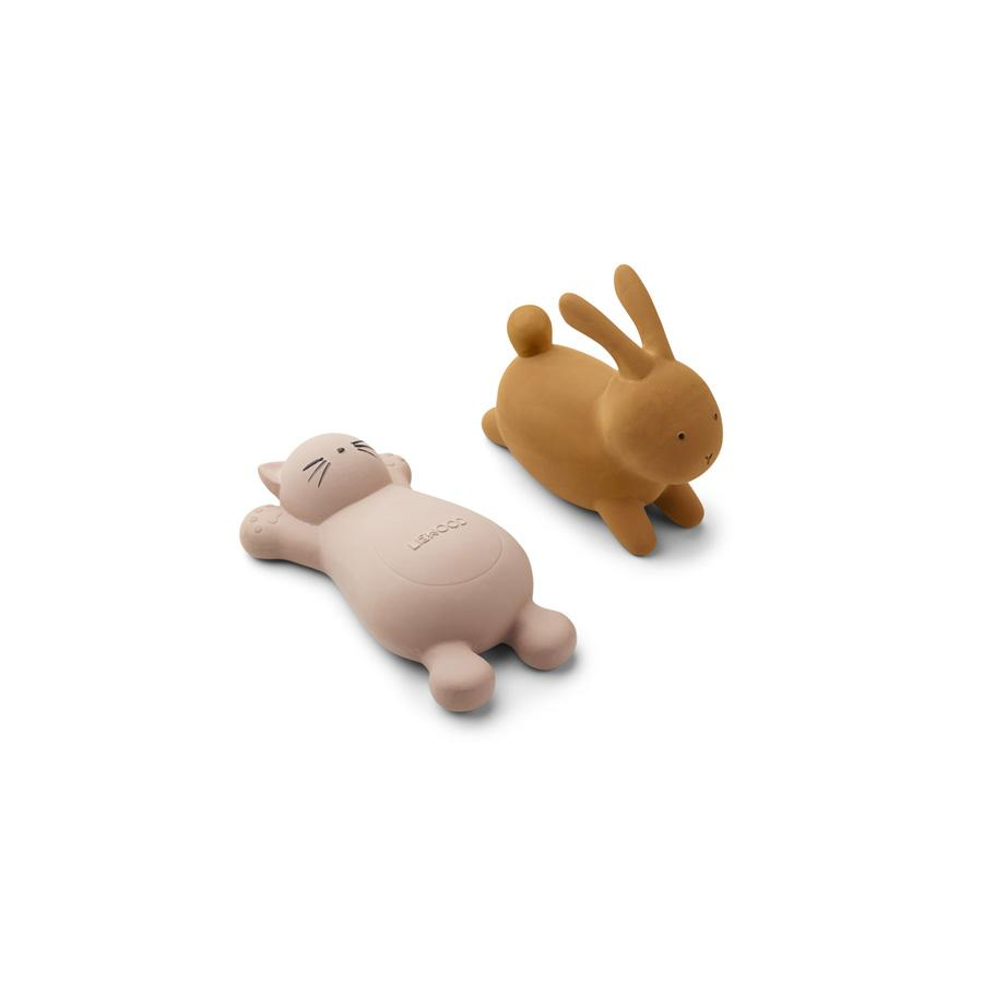 "Bath Toy ""Vikky Cat Rose / Rabbit Mustard"" Pack of 2"