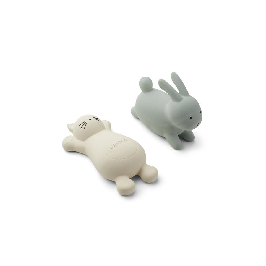 "Bath Toys ""Vikky Cat Crème de la Creme / Rabbit Mint"" Pack of 2"
