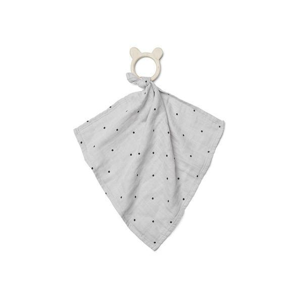 "Cuddle Cloth with Teether ""Dines Classic Dot Dumbo Grey"""