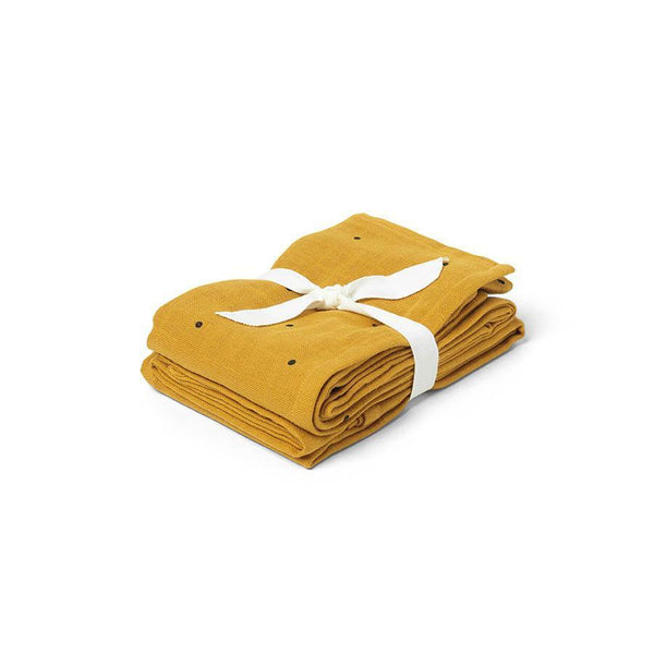 "Muslin Cloth ""Hannah Classic Dot Mustard"" 2 Pack"