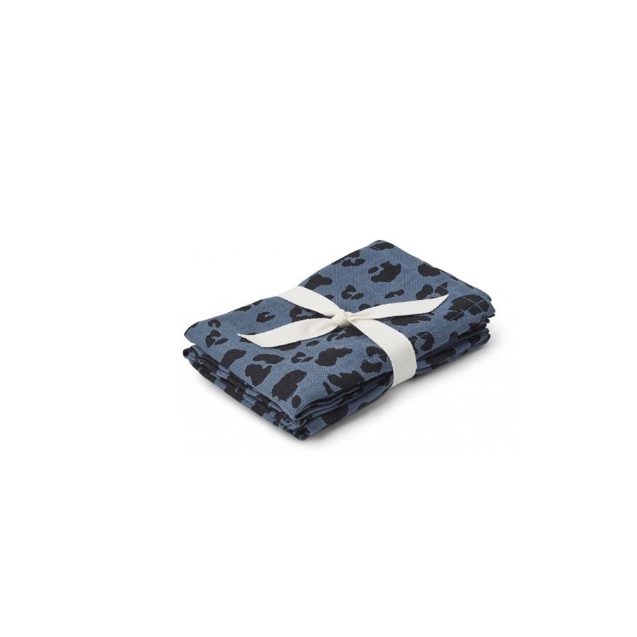 "Muslin Cloth ""Hannah Leo Blue Wave"" Pack of 2"