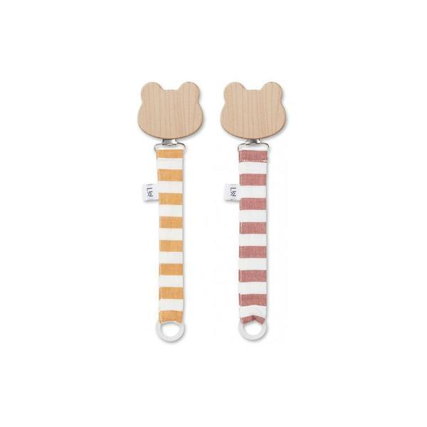 "Pacifier Holder ""Sia Cat Stripe Mustard / Crème de la Creme"" Pack of 2"