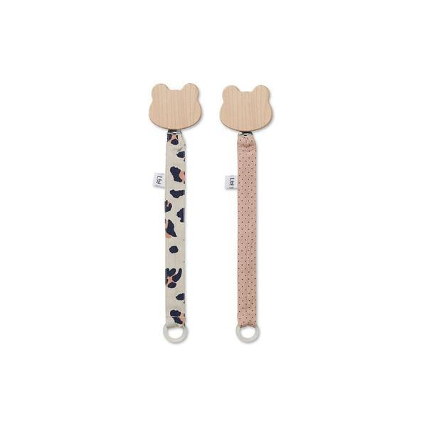 "Pacifier Holder ""Sia Leo Beige Beauty / Little Dot Rose"" Pack of 2"