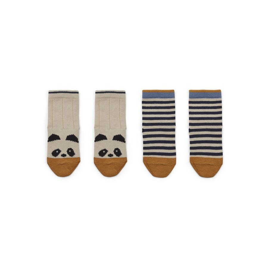 "Socks ""Silas Panda / Stripe Ecru"" Pack of 2"