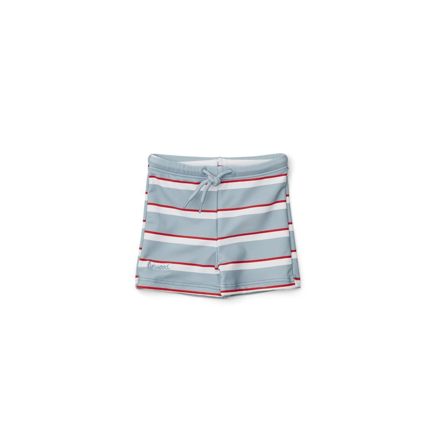 "Swimming Trunks ""Otto Stripe Sea Blue / Apple Red / Crème de la Creme"""