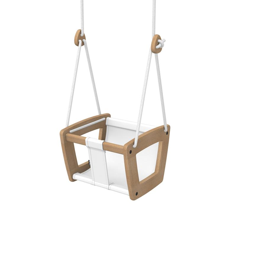 "Baby Swing ""Toddler Oak White Seat and Ropes"""