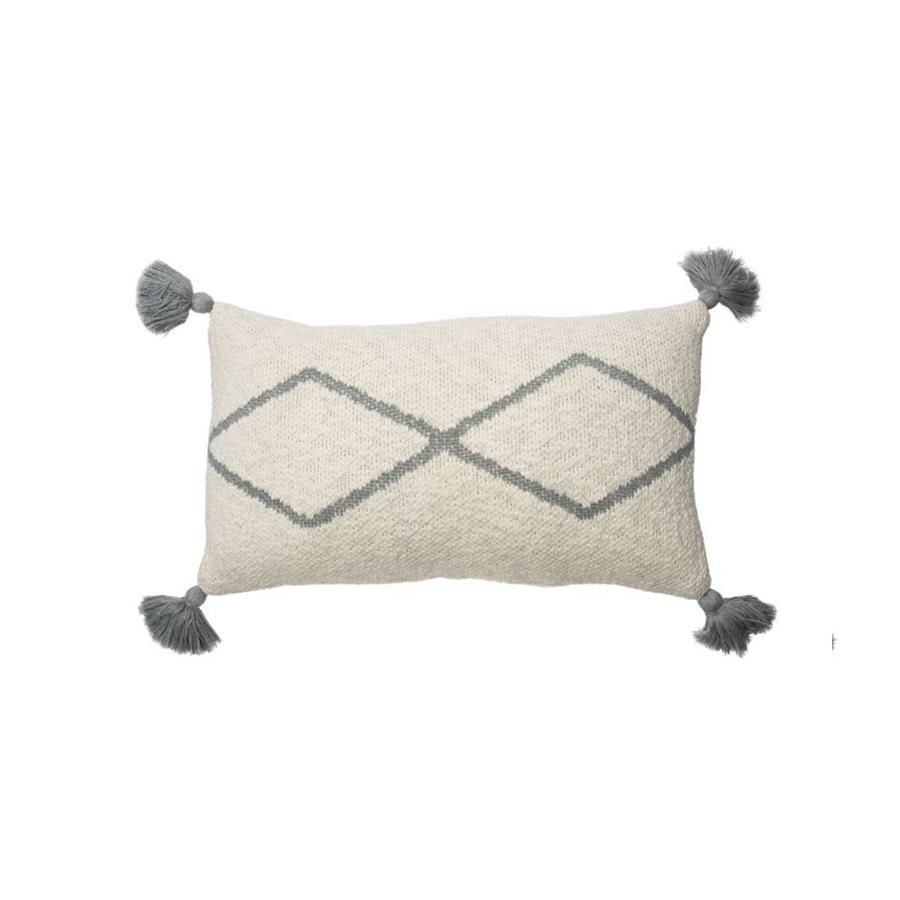 "Knitted Cushion ""Little Oasis Natural / Grey"""