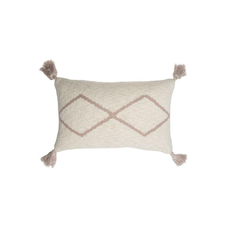 "Knitted Cushion ""Little Oasis Natural / Pale Pink"""