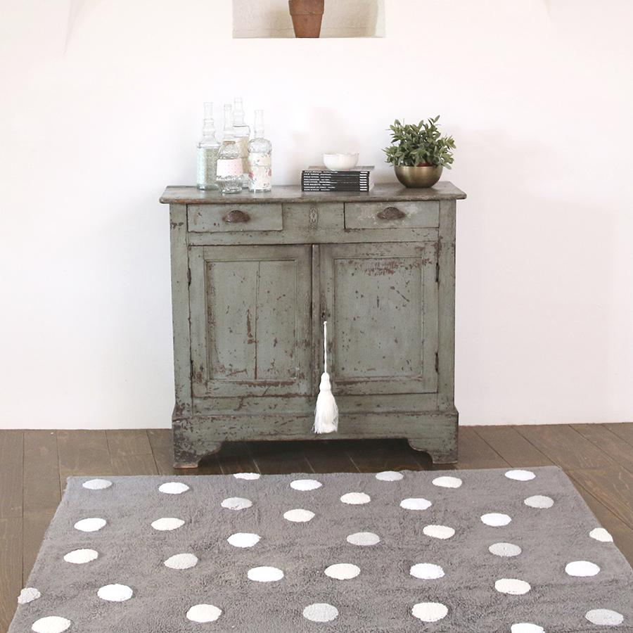 "Washable Carpet ""Polka Dots Grey / White"""