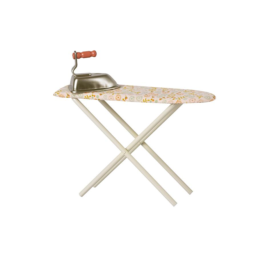 Doll ironing board with iron