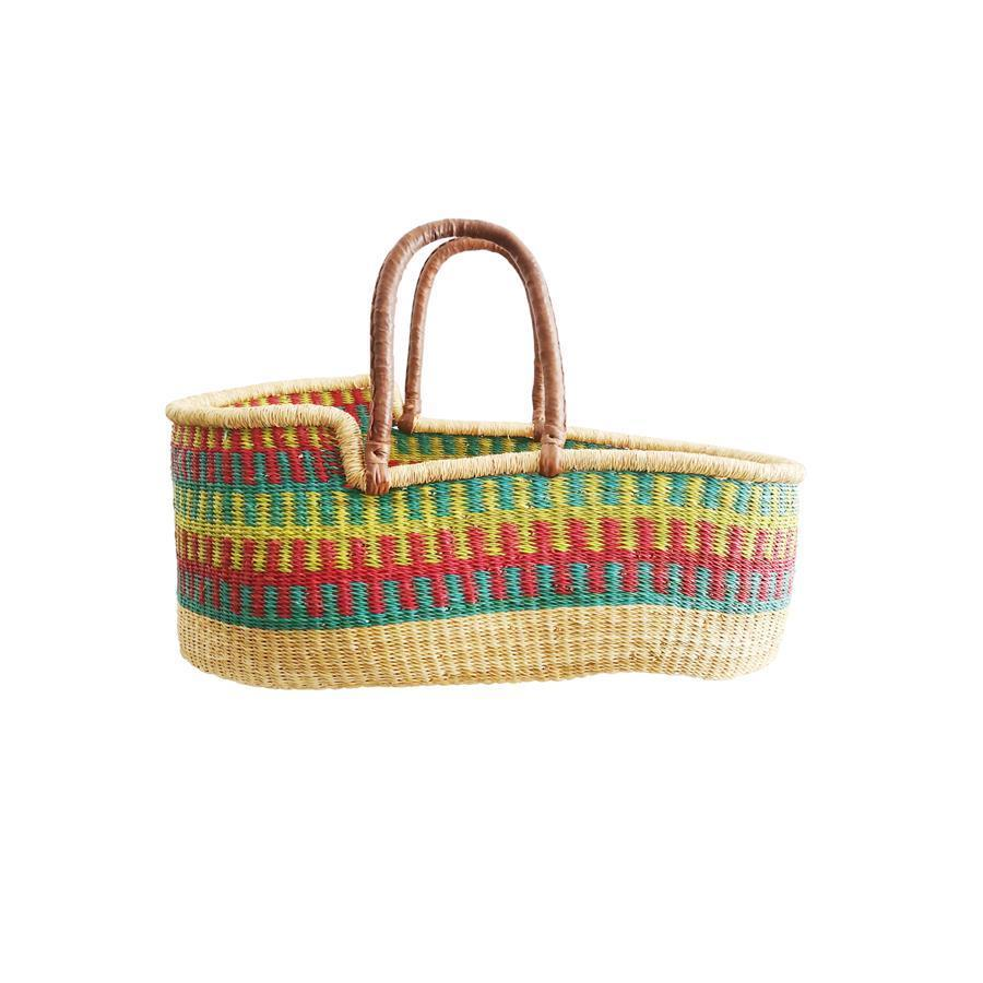 "Moses Basket ""Baby Moses Basket Blue Red and Yellow Patterned"""