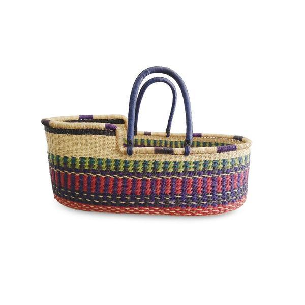 "Moses Basket ""Baby Moses Basket Purple Red and Green Patterned"""