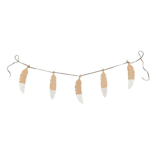 "Wooden Feathers Garland ""White"""