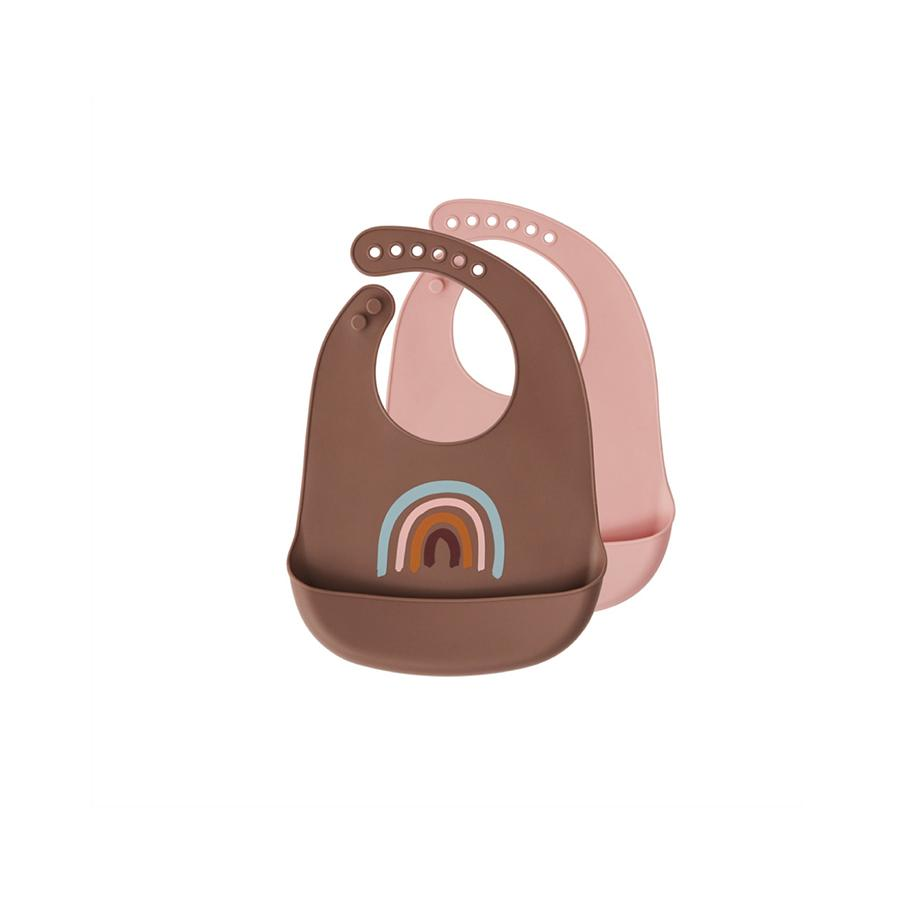 "Silicone Bibs ""Rainbow / Brown"" 2-Pack"