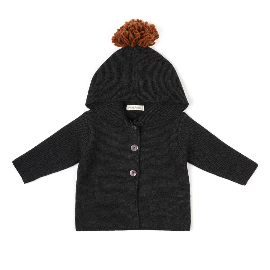 "Hooded Baby Cardigan ""Charcoal Melee"""
