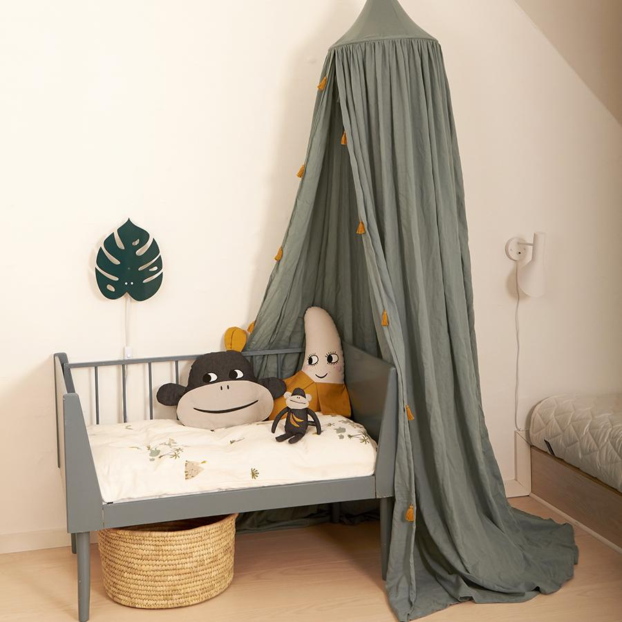 "Bed Canopy ""Sea Grey / Tassels Gold"""