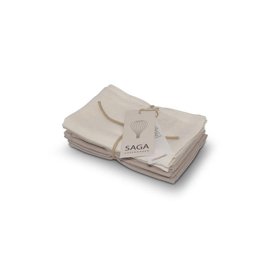 "Washcloths ""Muslin Birta Ivory / Dove"" Pack of 4"