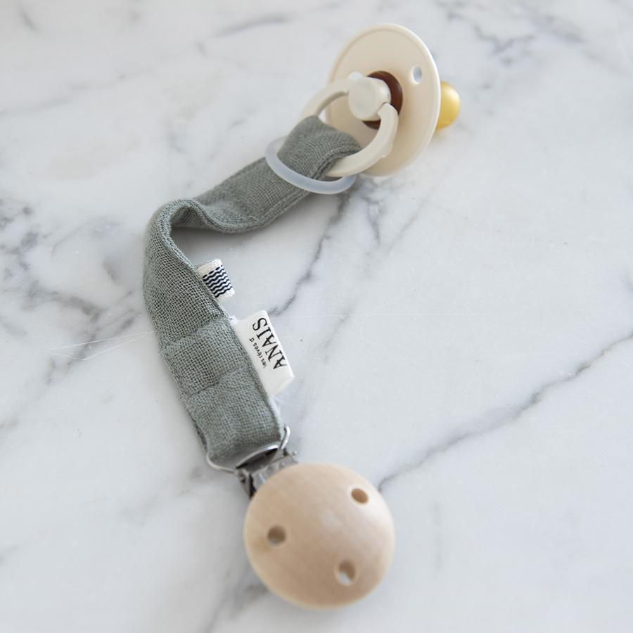 "Pacifier ribbon ""Bliss Olive"""