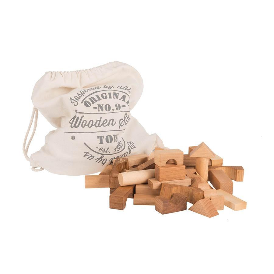 Natural Wooden Blocks In Sack - 100 pcs