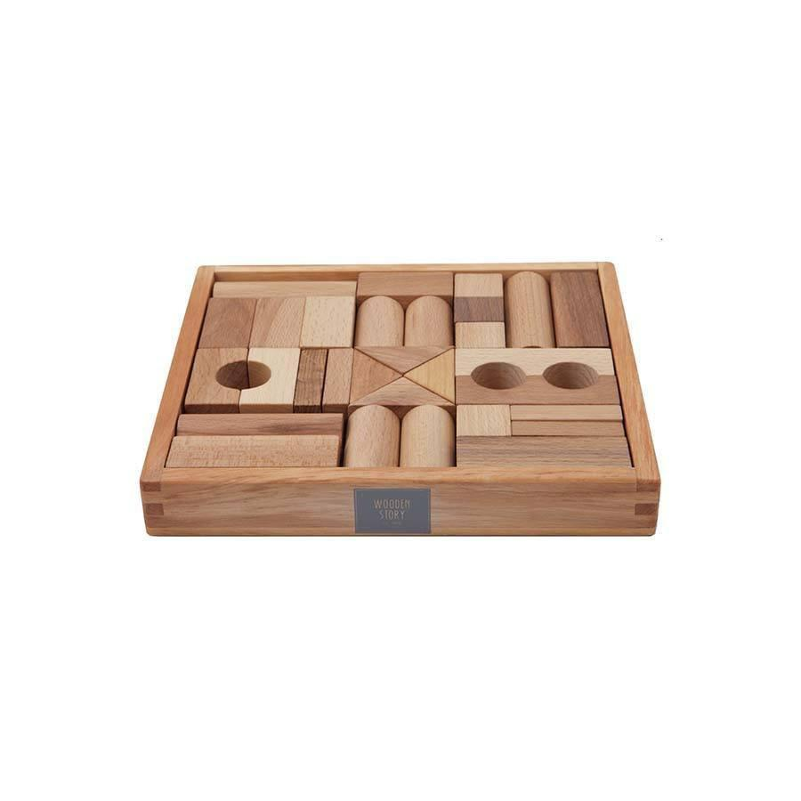 Natural Wooden Blocks In Tray - 30 pcs