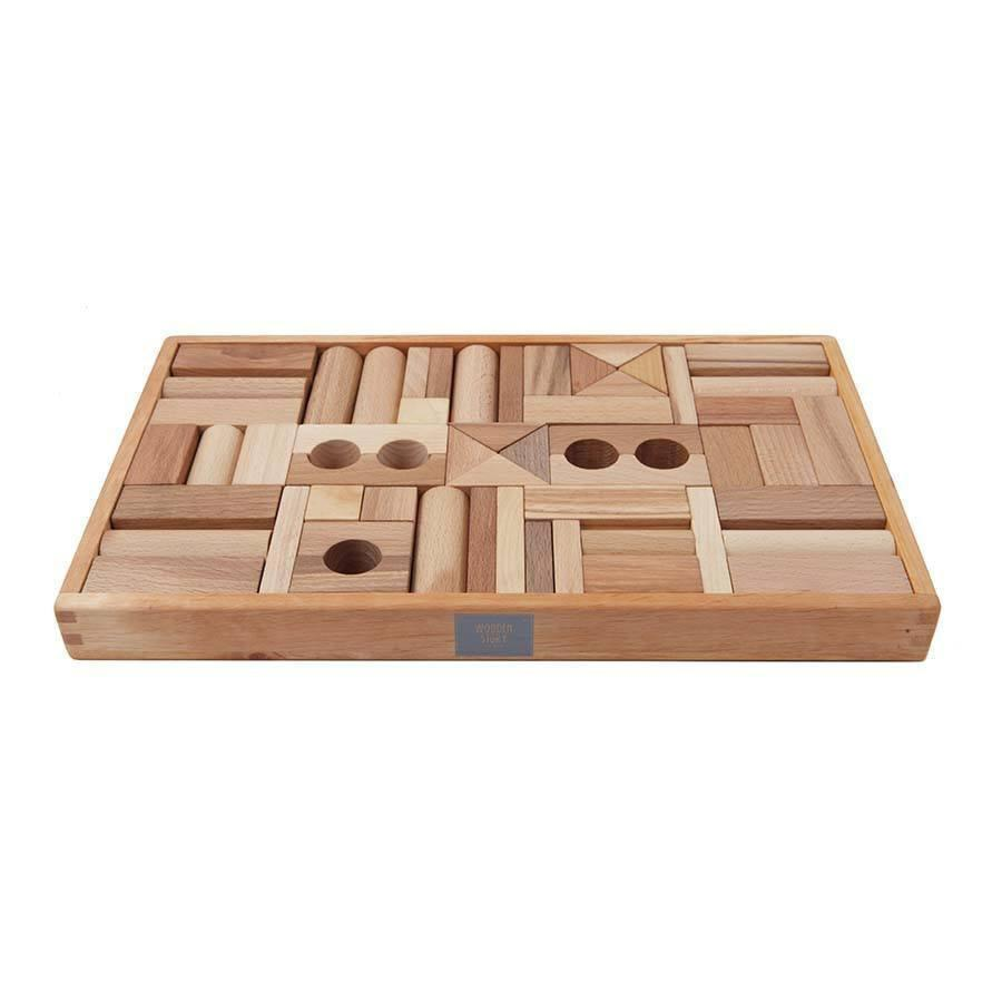 Natural Wooden Blocks In Tray - 54 pcs