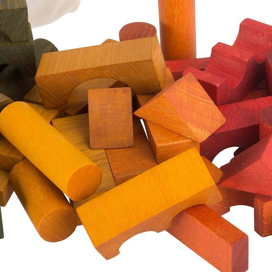 Rainbow Wooden Blocks In Sack - 100 pcs