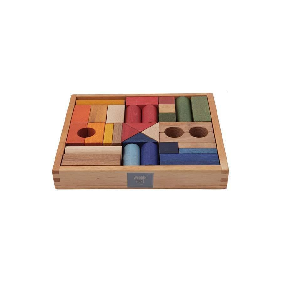 Rainbow Wooden Blocks In Tray - 30 pcs