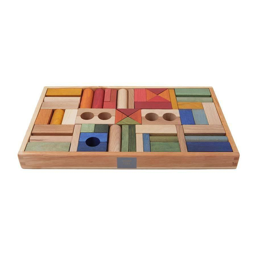 Rainbow Wooden Blocks In Tray - 54 pcs