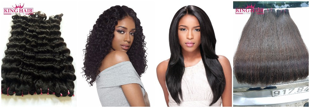 straight hair extension vs deep wavy hair extensions