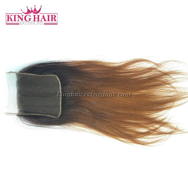 18 inch Vietnam Hair Straight Lace Closure 4x4 Ombre