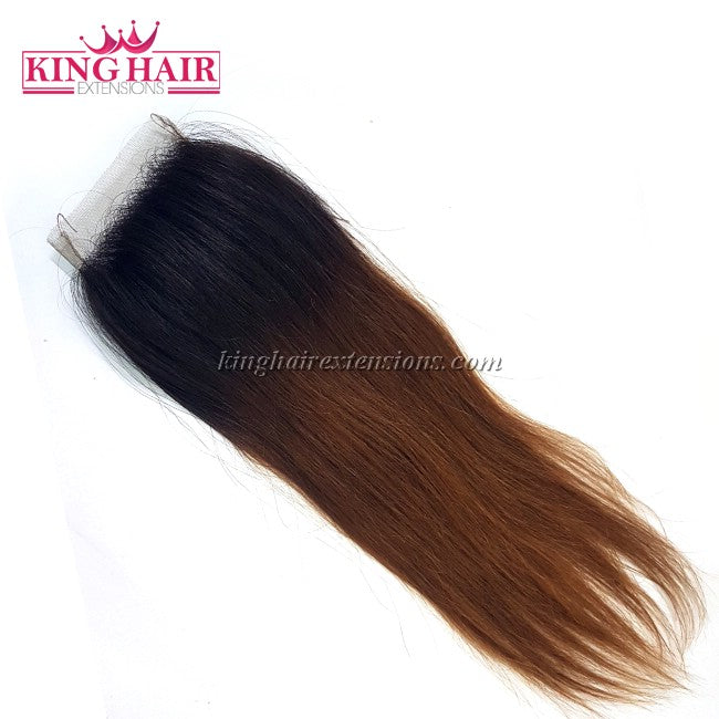 18 inch VIETNAM HAIR STRAIGHT LACE CLOSURE 4X4 OMBRE - King Hair Extensions