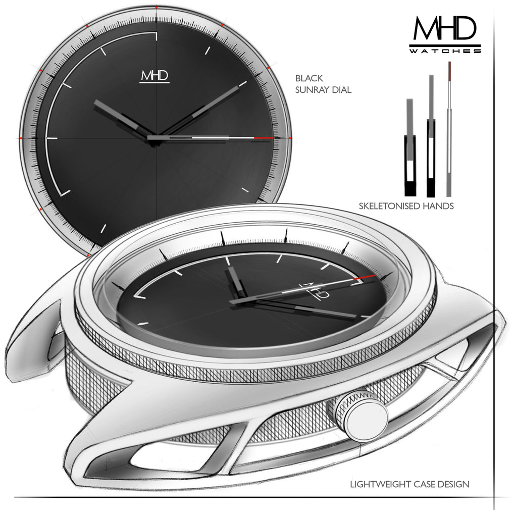MHD SA2 Steel dial –stainless steel - mens motorsports watch – Automatic mechanical 24 jewel miyota movement –Seat belt material nato strap - MHD watches