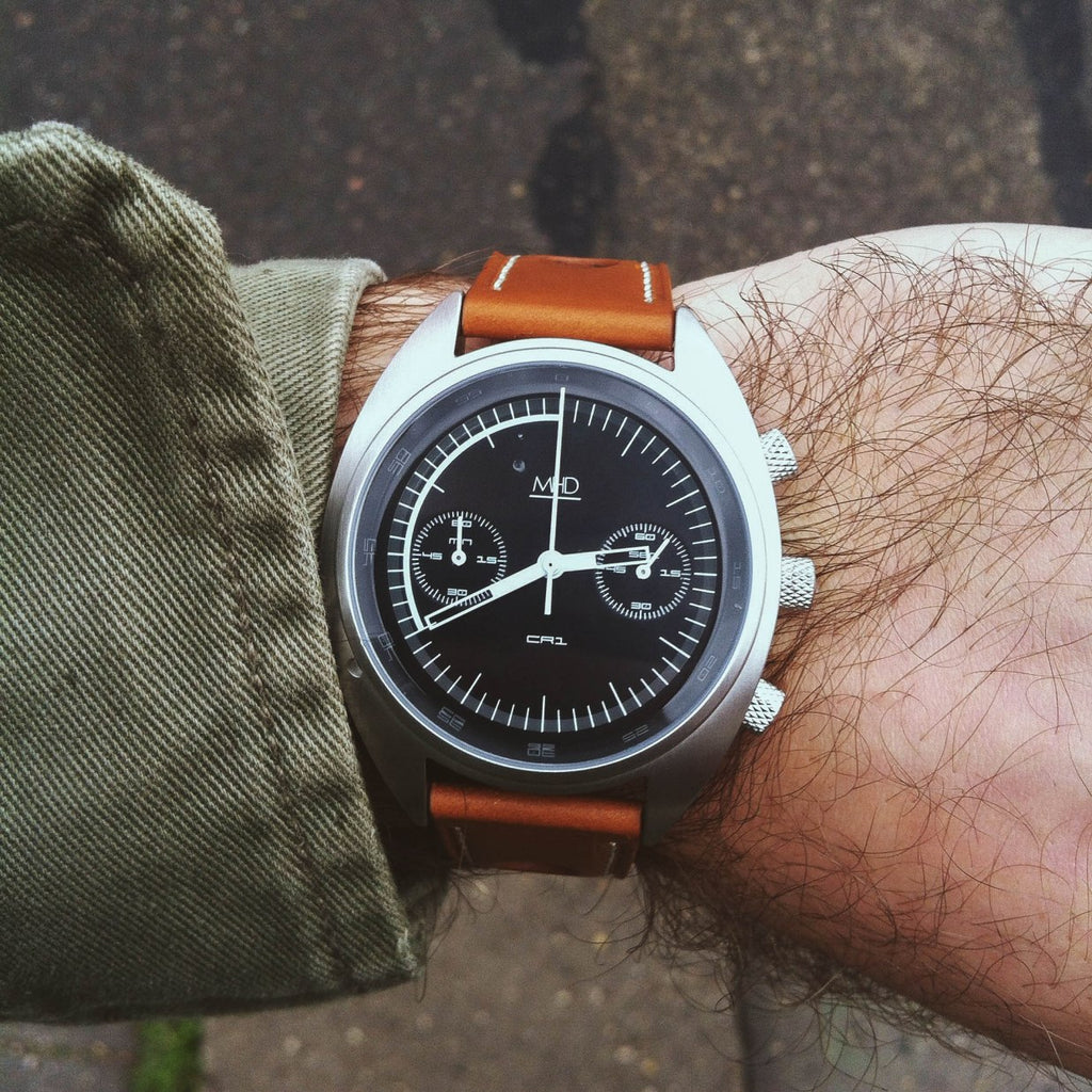 mhd watches cr1 black dial on tan leather rally strap