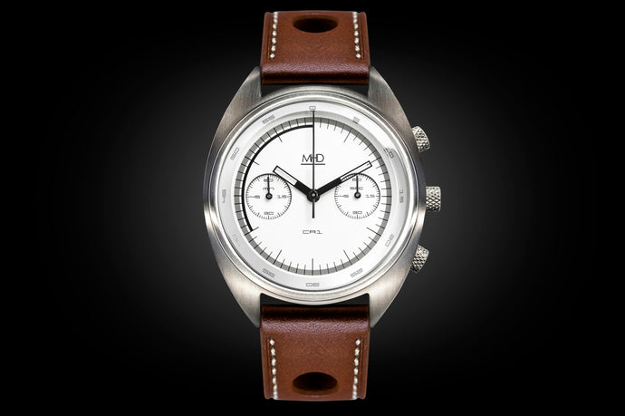 MHD Cr1 White dial – mens british classic car watch – chronograph- with brown calf leather rally strap – MHD Watches