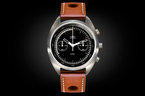 MHD Cr1 black dial – mens british watch – chronograph- with tan leather rally strap – MHD Watches