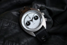 MHD Watches - MHDCR1 Panda dial Chronograph watch, on a black calf leather rally watch strap.  The MHDCR1 Timepiece by MHD watches is a 60's automotive inspired men's motoring chronograph Watch, designed by British Car designer Matthew Humphries. Limited edition of 500.