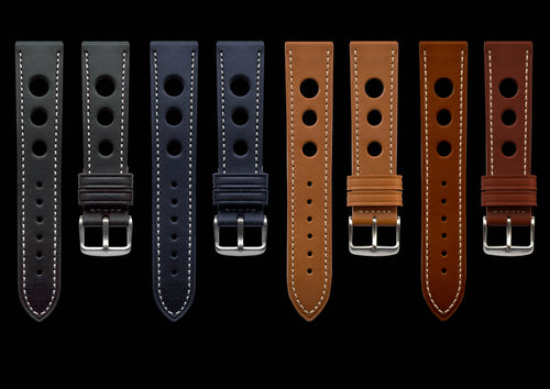 MHD Watches -  grand prix rally black, blue, tan & brown calf leather watch straps.