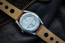 MHD Type 1- stainless steel men's watch -24 jewel automatic mechanical miyota movement watch- Tan leather rally strap - MHD watches- inspired by the Bugatti type 35