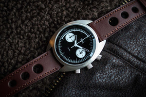 MHD Watches - MHDCR1 Reverse Panda Dial Chronograph Watch on a brown calf leather rally watch strap. The MHDCR1 Timepiece by MHD watches is a 60's automotive inspired men's motoring chronograph Watch, designed by British Car designer Matthew Humphries. Limited edition of 500.