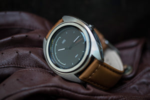 Mens watch, Black dial with tan strap