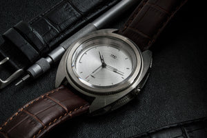Silver dial mens watch