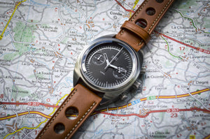 MHD Watches - MHDCR1 Chronograph Watch, Black dial with Tan calf leather rally watch strap The MHDCR1 Timepiece by MHD watches is a 60's automotive inspired men's motoring chronograph Watch, designed by British Car designer Matthew Humphries. Limited edition of 500.
