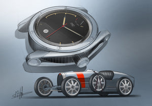 MHD Type 1 watch drawing- Bugatti type 35 drawing
