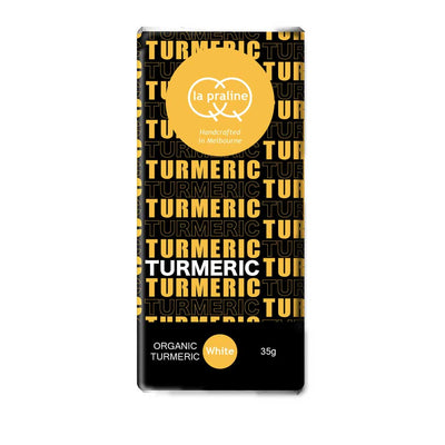 Organic Turmeric White Chocolate bar by QQ la Praline