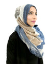 Signature Hijab in Blue Mix Cotton