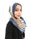 Model in Signature Cotton Blue Mix Hijab