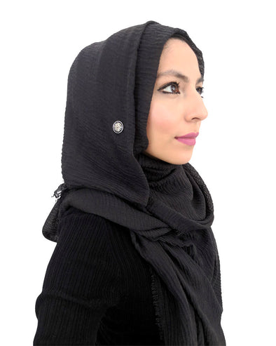 Cotton Crinkle Charcoal Black Hijab