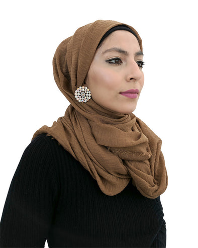 Cotton Crinkle Dark Tan Hijab